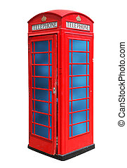 Classic British red phone booth in London UK, isolated on...