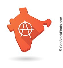 Long shadow India map icon with an anarchy sign -...