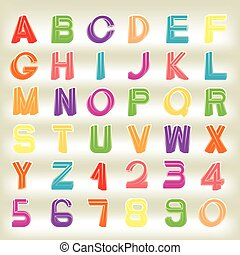 Impossible font set, including numerals, rainbow colors and...