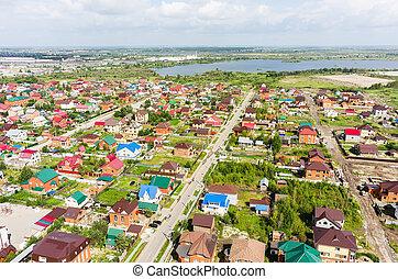 Aerial view of houses on housing estates. Tyumen - Tyumen,...