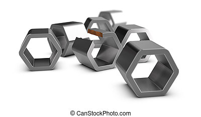 Manufacturing defect, Quality Control - Six metal shapes and...