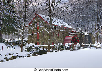 Grist mill in snow - Grist Mill at The Wayside, Sudbury,...