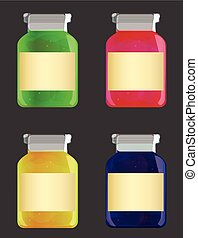 glass jars with jam - vector illustration of glass jars with...