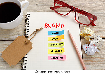 Brand marketing concept with work desk - Brand marketing...