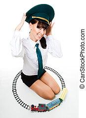 Woman play railroad staff