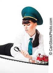Railroad worker investigate track