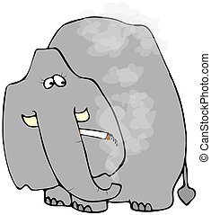 Smoking Elephant - This illustration depicts an elephant...