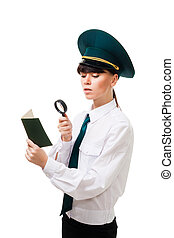 Customs control worker carefully check documents