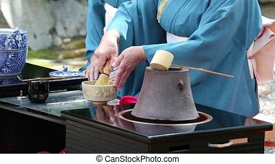 Japanese green tea ceremony - KAGAWA, JAPAN - SEPTEMBER 20,...
