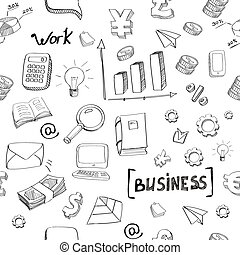 business finance doodle hand drawn elements seamless pattern