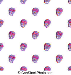 Sugar skull. Seamless pattern with Day of the Dead symbol....