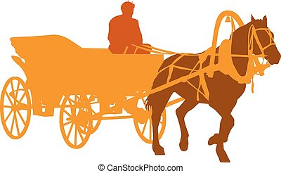 Silhouette horse and carriage with coachman. Vector...