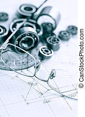 Engineering Concept - Engineering concept Few ball bearings...