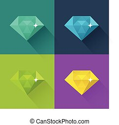 Diamond vector illustration set in flat design. Colored icons.