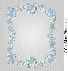 Gem frame - Vector transparent glass and gems decorative...