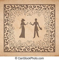 Couple in louve - Vector Valentine card - illustration of...