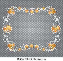Amber frame - Vector transparent glass and gems decorative...