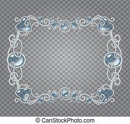Gem frame - Vector transparent glass and gems decorative...