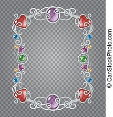 Gemstones frame - Vector transparent glass and gems...