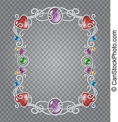 Gemstones frame - Vector transparent glass and gems...