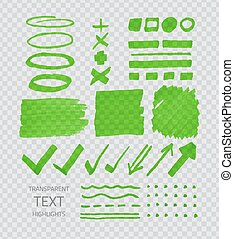 Transparent highligter spots - Vector collection of green...