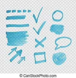 Transparent highligter spots - Transparent highlighter marks...