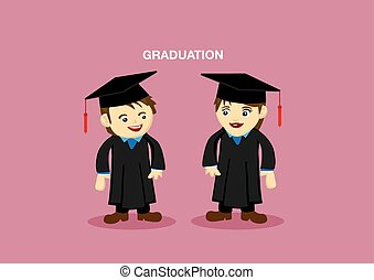 Cute Graduation Couple Mascot Illustration - Man and Woman...