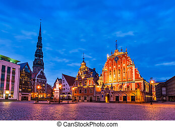 Riga Town Hall Square, House of the Blackheads, St. Roland...