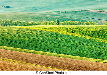 Moravian rolling landscape - European rural wallpaper -...