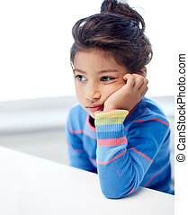 sad little girl at home or school - people, childhood and...