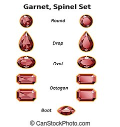 Garnet, Spinel Set With Text - Garnet, Spinel Set different...