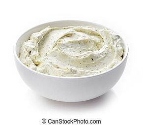crema, queso, con, hierbas,