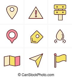 Icons Style Map icons on white background. GPS and Navigation, Vector Design