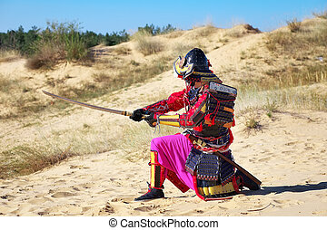 Samurai with sword on the sand. Men in samurai armour on the...