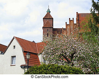 Havelberg Cathedral with cherry tree blossom in front...