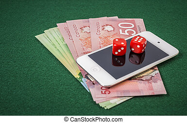 Online gambling - Ipod, cash and pair of dice as portable...