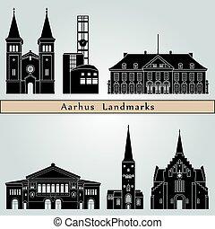 Aarhus Landmarks - Aarhus landmarks and monuments isolated...