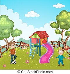 Illustration with children playing