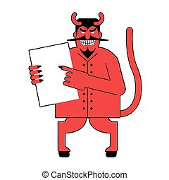 Devil and  contract.  Scary Mephistopheles offers deal to sign in blood. Red Satan offers to sign document. Horned Lucifer holds clean white sheet. Beelzebub with goat legs offers to sell his soul.