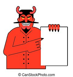 Satan keeps white blank sheet of paper. Devil and document....