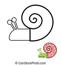 Snail coloring book. Gastropoda clam with spiral shell. Vector illustration