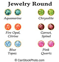 Jewelry Round Isolated Objects - Jewelery set with faceting...