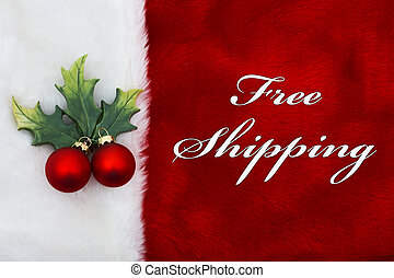 Free Shipping, A plush red stocking with a Mistletoe...