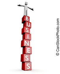 Business success and stable concept - Man standing on top of...