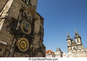 Old astronomical clock with Church of our lady before Tyn