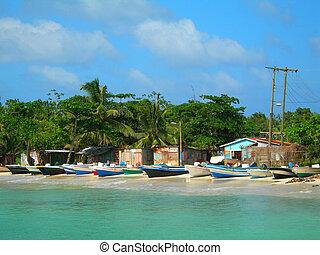 panga fishing boats with houses corn island nicaragua -...