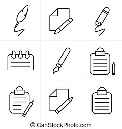 Line Icons Style Writing icons