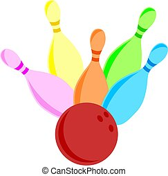 ten pin bowling - Illustration of a set of colourful bowling...