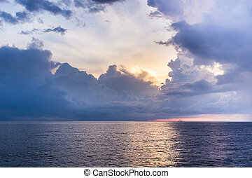 After storm clouds over the sea