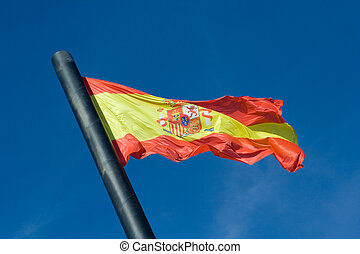 Flag of Spain - The Flag of Spain with Blue Sky